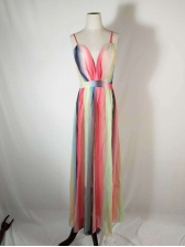 Sexy Multicolored Backless Chiffon Maxi Dresses