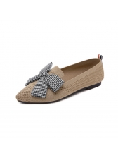 Spring Plaid Bow Slip On Pointed Flats