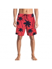 Mens Beach Coconut Tree Print Red Shorts