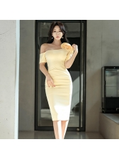 Inclined Shoulder Stereo Flower Yellow Dress