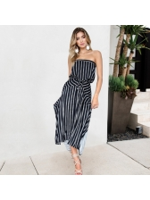 Off The Shoulder Print Drawstring Strapless Dress