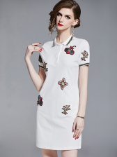 Fashion Polo Neck Short Embroidered Dress