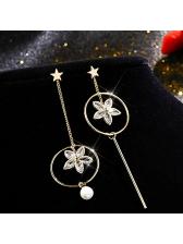 Fashion Star Asymmetrical Zircon Flower Drop Earrings