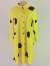 Single-Breasted Dots Loose Long Sleeve Dress