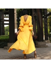 V Neck Large Hem Tie-Wrap Asymmetrical Maxi Dress