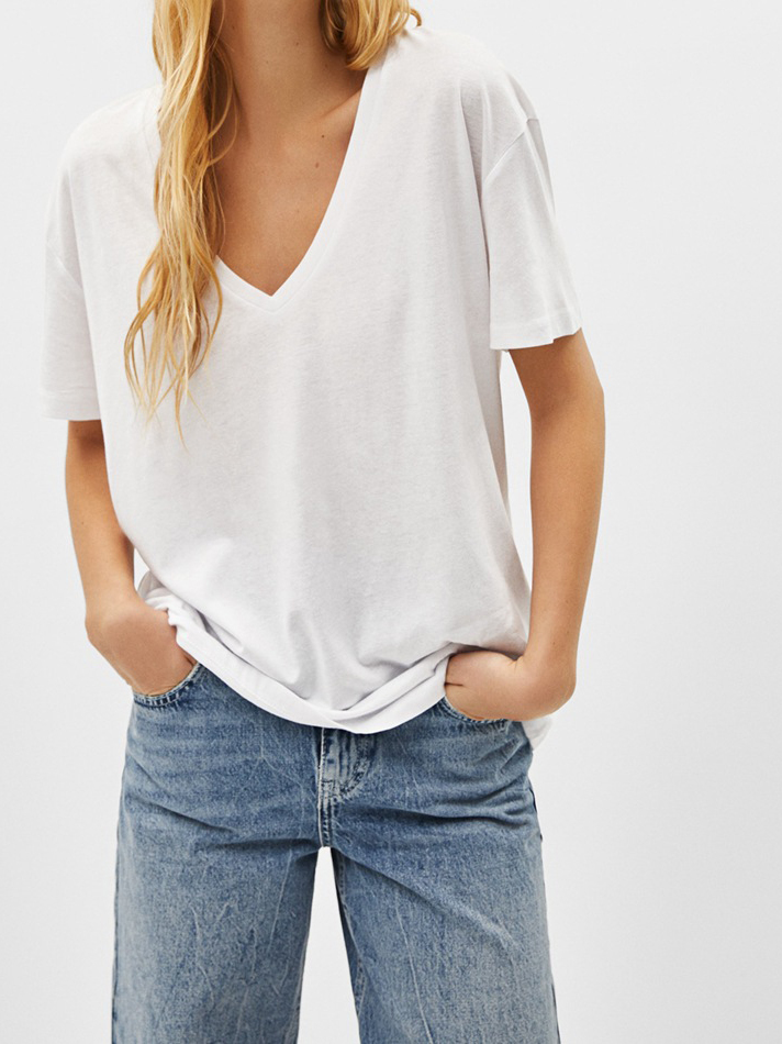 Casual V Neck Solid Loose T Shirt