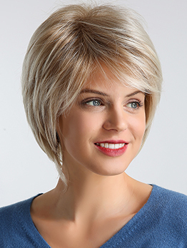 Inclined Bang Short Straight Ombre Color Synthetic Wig