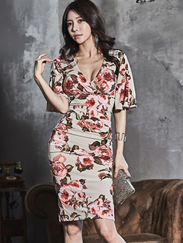 Tie-wrap V Neck Bodycon Floral Dresses