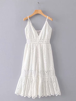 Minimalist Hollow Out Embroidery White Strap Dresses