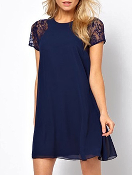 Simple Style Solid Lace Short Sleeve Dress