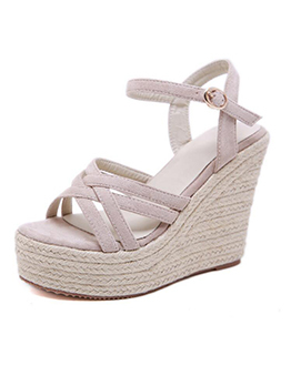 Korean Design Suede Ankle Strap Wedges