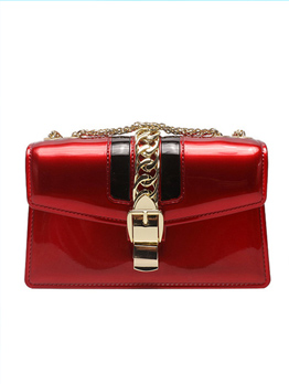 Casual Metal Hasp Patent Leather Crossbody Bag
