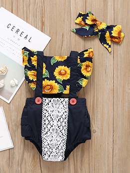 Sunflower Lace Baby Girl Romper With Headband