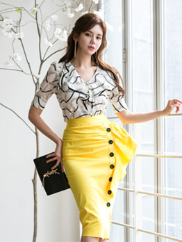 Ruffle Printed Blouse With High Waisted Skirt