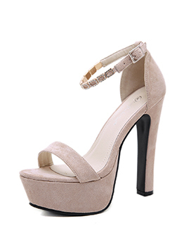 Fashionable Suede Diamond Platform Lady Sandals