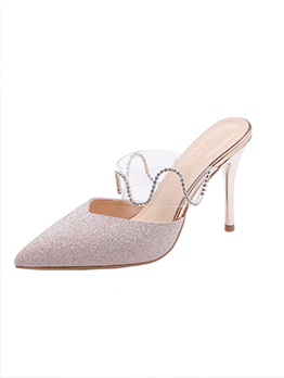 Simple Design PVC Diamond Pointed Heeled Slippers