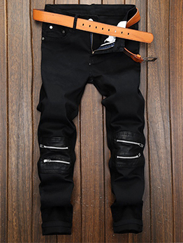 Chic Zipper Pu Stitching Black Men Jeans