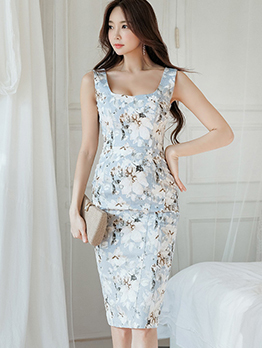 Simple Design Printing Sleeveless Dress