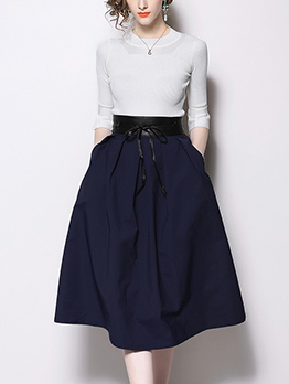 Solid Flare Sleeve Fitted T-Shirt With A-Line Skirt