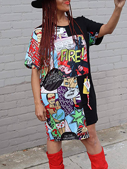 Fashionable Printing Asymmetrical T-Shirt Dresses