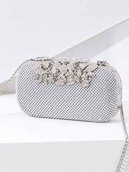 High-End Diamonds Decor Clutch Bag For Evening