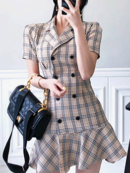 Tailored Collar Double-Breasted Plaid Short Sleeve Dress