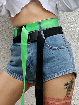 Contrast Color High Waisted Short Jeans