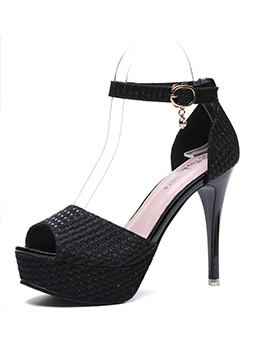Peep Toe Sequined One-buckle Stiletto Heels