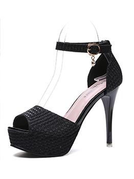 Peep Toe Sequined One-buckle Stiletto Heels