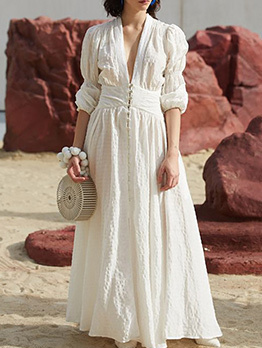 Boutique V Neck Puff Sleeve Big Swing Maxi Dress