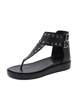 Roman Style Buckle Rivets Patchwork Casual Thong Sandals
