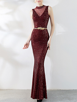 Elegant Sequined Studded Fishtail Boutique Maxi Dresses