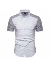 Raglan Sleeve Colorblock Fitted Short Sleeve Shirt