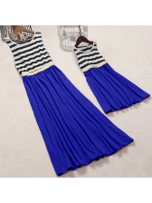 Casual Striped Patchwork Family Sleeveless Dress