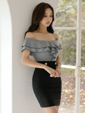 Sexy Off The Shoulder Ruffles Slim Gray Dresses