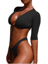 Sexy Deep V Neck t-Wrap Solid 2 Piece Swimsuit