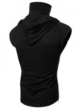 Minimalist Design Hooded Collar Fitted Men Tee