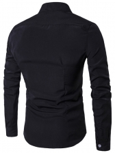Solid Asymmetrical Fitted Long Sleeves Shirt