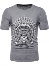 Chic Aboriginal Skull Printed Tee For Men