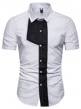 Contrast Color Fitted Short Sleeves Shirt