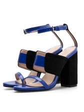 Chic Color Block A-Buckle Belt Chunky Sandals