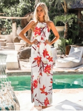 Floral Split Maxi Dress For Vacation