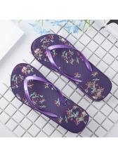 Summer Printing Causal Purple Flip Flop