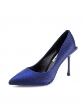 Classic Solid Slip On Thin Heel Pointed Pumps