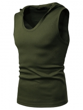 Simple Design Solid Hooded Tank For Men