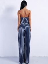 Striped Strapless 2 Piece Straight Pants Set