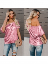 Summer Crew Neck Solid Sequin Womens T-Shirt