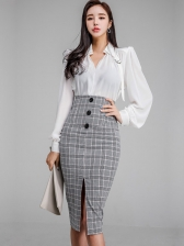 Office Lady Elegant Plaid Fitted Slit Women Suits