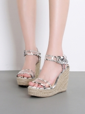 Summer Weave Snake Print PVC Wedges