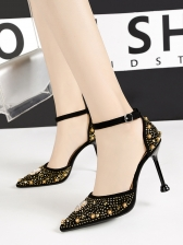 Pointed Toe Beading Decorated Ankle Strap Heels